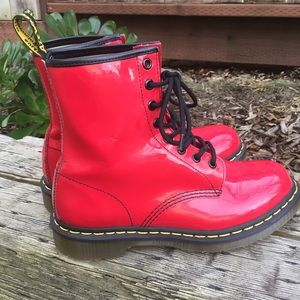Dr Martens 1460W Patent Red Combat Boots